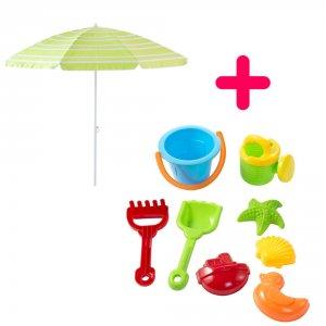 Kit parasol et jeux de plage