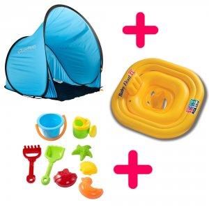 Kit intégral: Tente, bouée-culotte, jeux de plage