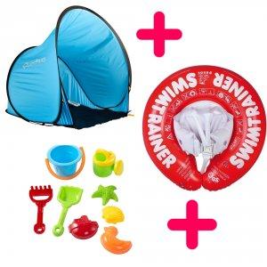 Kit intégral: Tente, bouée-harnais, jeux de plage