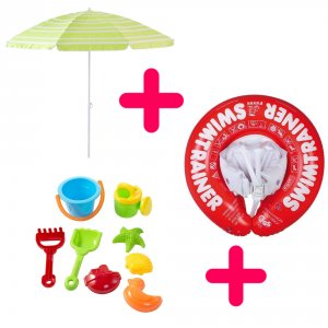 Kit intégral: Parasol, bouée-harnais, jeux de plage