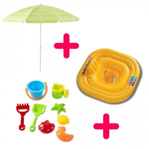 Kit intégral: Parasol, bouée-culotte, jeux de plage